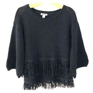 DKNY Knit Sweater with Fringe Trim